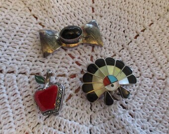 Native Vintage Brooch, lot 3 pieces ,good condition as pictured sterling silver largest piece is 1 1/2 wide