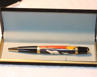 Handcrafted Polar Bear Inlay Pen in Black Velour Case