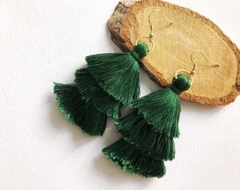 3-Tiered Green Tassel Earrings