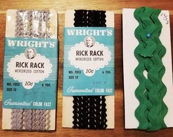 Vintage Trim Rick Rack, Soutache Braid, no iron, black, gray, green, white