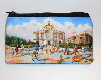 Palacio de Bellas Artes purse, Hand painted purse, Purse Palacio de Bellas Artes, México, mexican purse, wallet, zipper pouch, mexican art