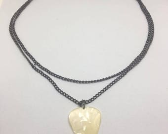 Cream Guitar Pick Necklace