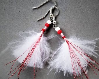 Fun White Feather and Bead Earrings