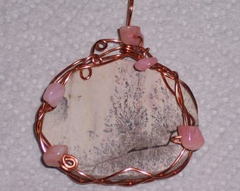 Picture Jasper Wire Wrapped with Copper & Peruvian Pink Opal Chips