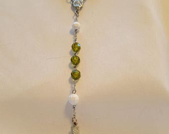 Green and White Sparking Silver Rosary