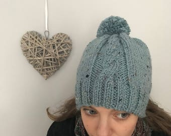 Hand knit, Chunky,  cable, winter pom pom hat.
