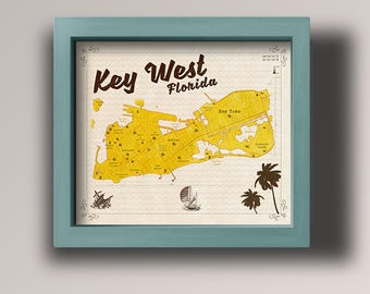 Key West Vintage Style Map - Key West Print  - Nautical Print - Wall Art - Digital Download
