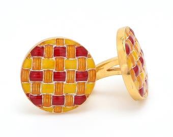 Custom made vintage style Enamel Cufflinks