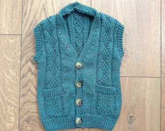 Boys' age 1-2 green knitted waistcoat - Merino wool with up-cycled Burberry buttons