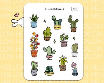 cactus and plants. decorative stickers. planner stickers. bullet journal stickers, erin condren (t008)