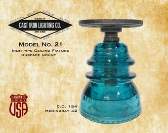 Glass Insulator Light ~ Iron Pipe Ceiling Light ~ CD 154 Insulator ~ Hemingray 42 ~ Surface Mount ~ Vintage ~ LED Light Bulb Included