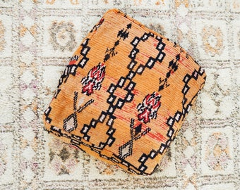 Tangerine Eclectic Vintage Moroccan Floor Cushion Pouf Sofa Cover Boujaad Kilim
