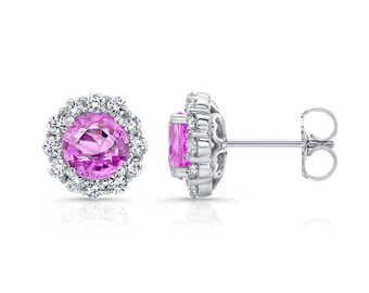 0.75ctw Pink Sapphire and Diamond Halo Studs, 14K, 18K, Platinum, Sapphires, Diamond Stud Earrings, Diamond Earrings, Gold Earrings, Barkevs