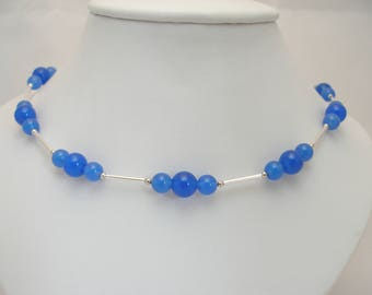 Blue Onyx & Sterling Silver Necklace