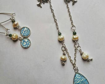 Set three elements, necklace, earrings and adjustable ring