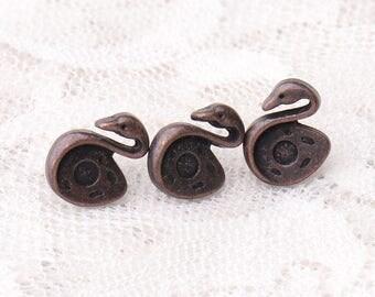 10pcs 11*8*6mm swan buttons fashion buttons copper shank buttons metal buttons