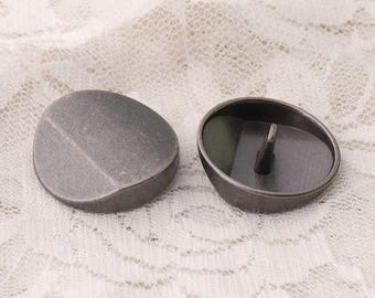 metal buttons 25*10mm 10pcs metal edgefold buttons large round light black buttons coppers button for coat