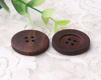 round dark brown wood buttons 8pcs 28mm in diameter 4 holes sewing buttons wooded buttons