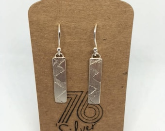 Stirling silver etched drop earrings