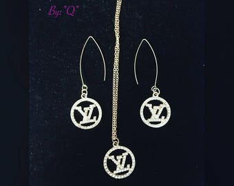 Silver inspired by lv necklace and wire earrings set