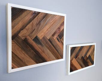 White Frame Herringbone Wall Art