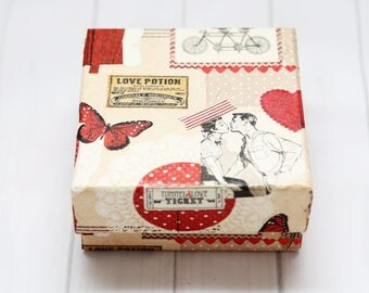 Gitf box.Handmade,decoupage,,Birthday gift,Jewellery box,Gift ,Kraft Paper Box- Decorated Box- Recycled,gift for her