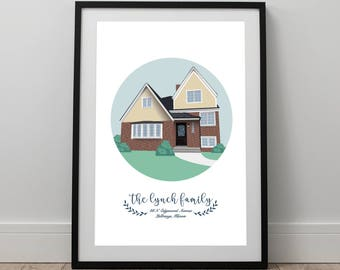 Custom Home Illustration and Notecards / House Warming Gift / New Home Present / 8.5 x 11 House / Townhouse / Beach House Print