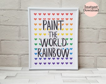 Quote Print, Paint The World Rainbow, Rainbow Wall Art, Multicolour Hearts, Home Decor, Nursery Decor, Instant Download Printable