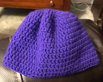 Purple beanie hat. Crocketed. Hand made.