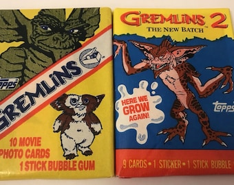 Lot 2 Packs GREMLINS Topps Movie Photo Bubble Gum Trading Cards New Batch 1984
