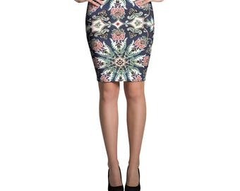 Navy Floral Pencil Skirt