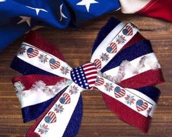American Love Patriotic Hair Bow Accessory