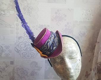 Maddie - Miniature Mad Hatter Top Hat Fascinator Percher in Magenta, Cadbury Purple & Mustard Gold. Perfect for Steampunk, Cosplay, Parties.