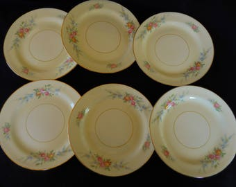 Vintage Bread Plates/Set of Six/Homer Laughlin/ Nautilus Ferndale/Georgian Pattern/ Eggshell China