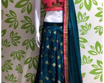 Indian designer party wear bollywood wedding mehndi sangeet new crop top skirt stitched lehenga choli ghagra garba dandiya navratri