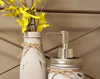 Farmhouse Bathroom Set, Mason Jar Bathroom Storage, Bathroom Storage, Rustic Bathroom Decor