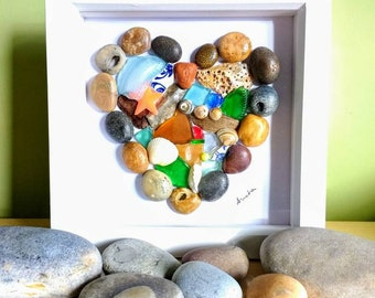 Pebble art, pebble heart picture, heart, wall art, gift, sea glass, pebbles
