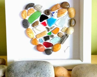 Pebble art, heart, seaglass, fossils, pebble picture, heart picture, wall art, gift
