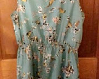 Blue silky dress with a floral and sparrow print XL