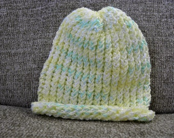 Shimmery Yellow, Green, and White Baby's Knit Hat