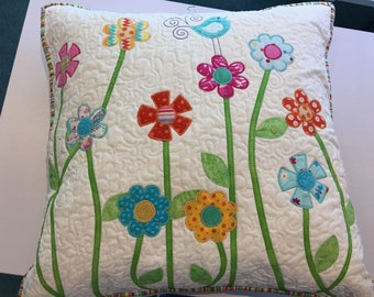 Floral Appliquéd Pillow