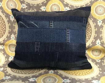 Upcycled Denim Decorative Pillow Case Dark