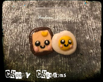 Eggs and toast polymer clay earrings