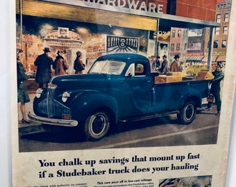 Studebaker Car Ad | Vintage Ad | Antique Car | Gift for Car Lovers | Old Cars | Retro Car Ads