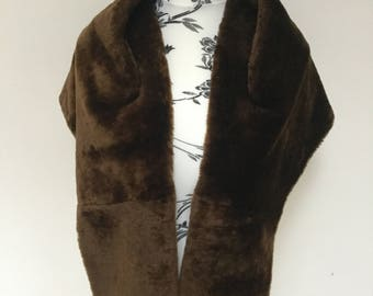 True Vintage rich chocolate brown faux fur cape shrug 1940s 1950s