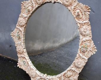 Antique mirror Ceramic Porcelain of Capodimonte beginning period 900