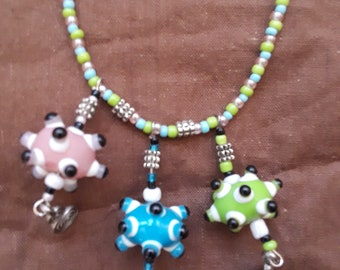 Beaded necklace multi colored quirky and fun looking