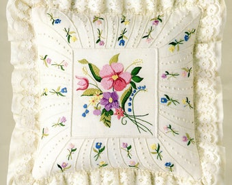 Candamar Designs Candlewicking Embroidery Floral Pillow