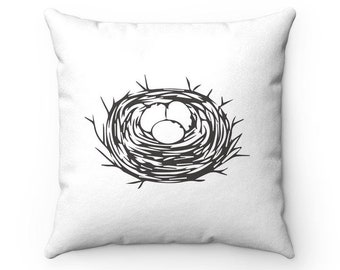 Monochromatic Drawing Nest With Eggs Square Pillow