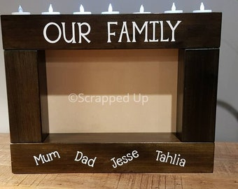 LARGE PHOTO FRAME - Personalised / Customised Handmade Timber Candle Holder - Wood Home Decor Tealight Birthday Mother's Day Pictures Photos
